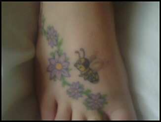 Beautiful Flowers & Bee Tattoo On Foot