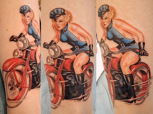 Beautiful Girl On Red Bike Tattoo Design