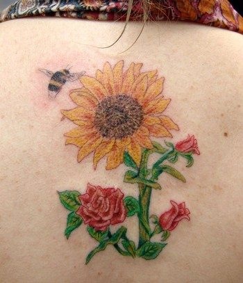 Bee On Roses Sun Flowers Tattoo Design