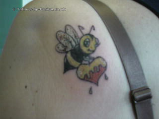 Bee With Melting Heart Tattoo