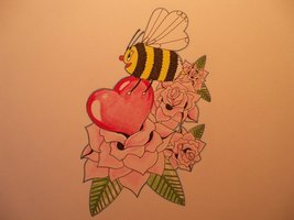 Bee With Red Heart & Roses Tattoo Design