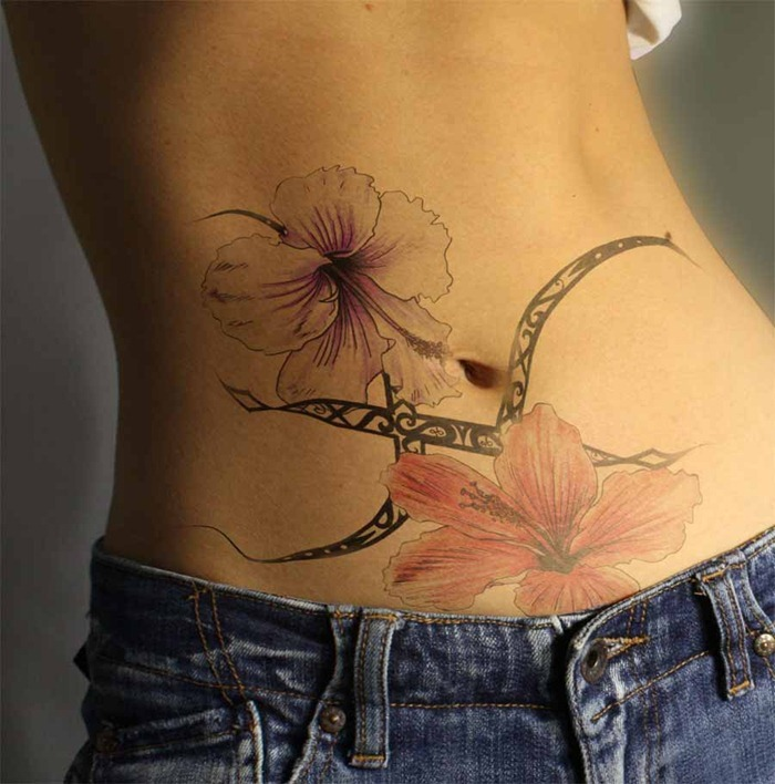 Belly Flower Tattoo Design For Girls