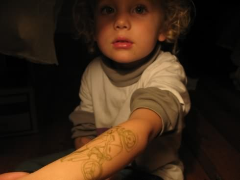 Bike Tattoo On Child Arm