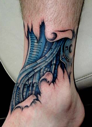 Biomechanical Ankle Tattoo Design