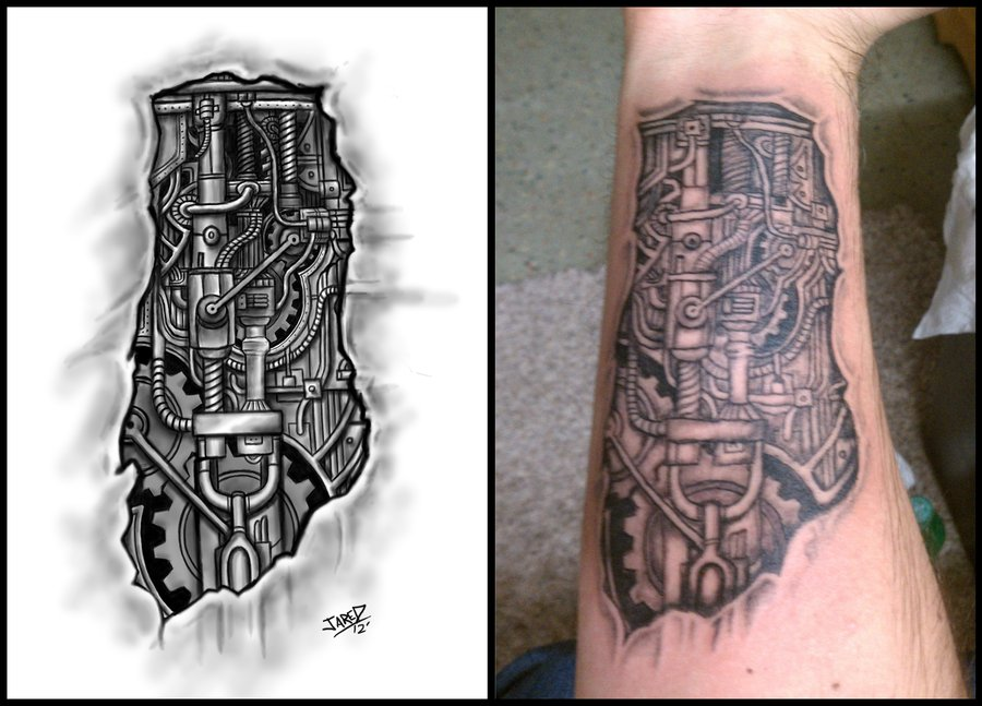 Biomechanical Forearm Tattoo Design