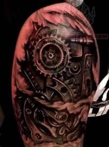 Biomechanical Gears Tattoo On Shoulder