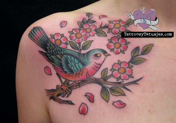 Bird Sitting On Flowers Branch Tattoo
