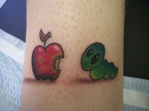 Bitten Apple & Worm Tattoo