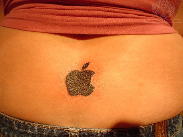 Lower Back Apple Logo Tattoo With Black Ink