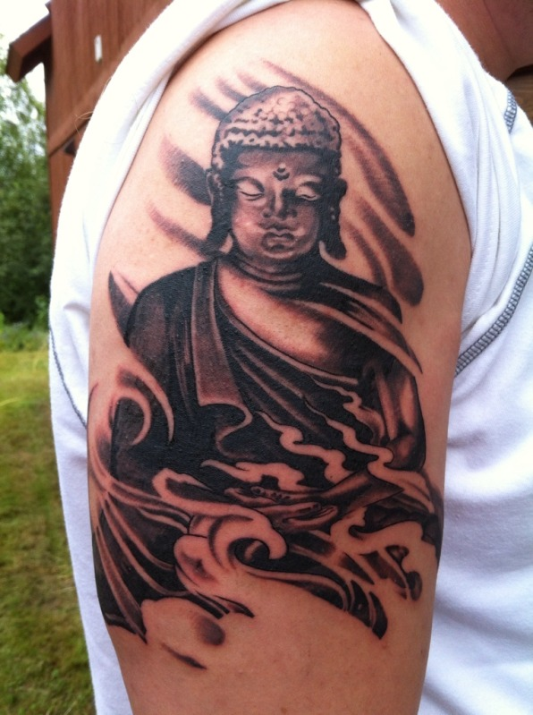 Black Ink Buddha Tattoo On Shoulder