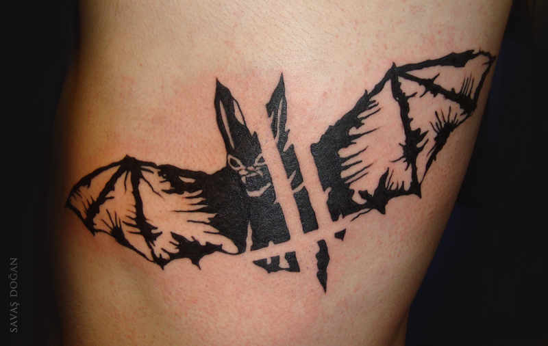 Black Ink Flying Bat Tattoo Design