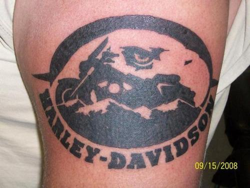 Black Ink Harley Davidson Bike Tattoo Design