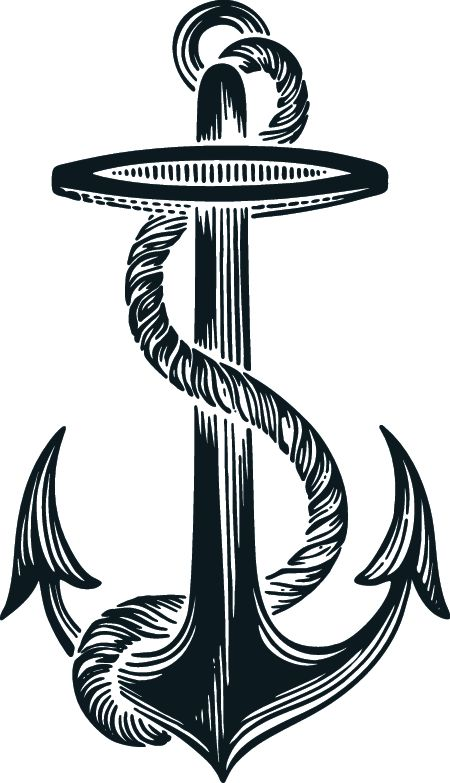 Black Ink Rope Anchor Tattoo