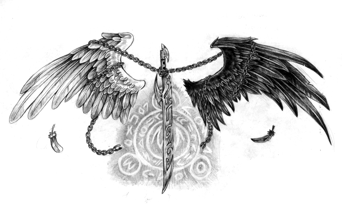 White & Black Angel Wings & Sword Tattoo Design