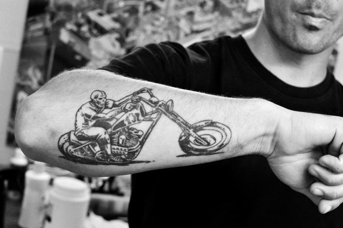 Black & White Bike Tattoo On Forearm