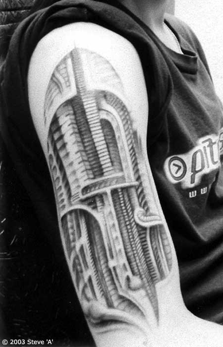 Black & White Biomechanical Tattoo