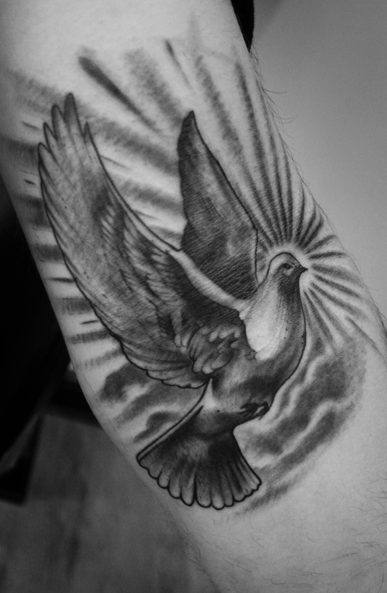 Black & White Flying Bird Tattoo Design