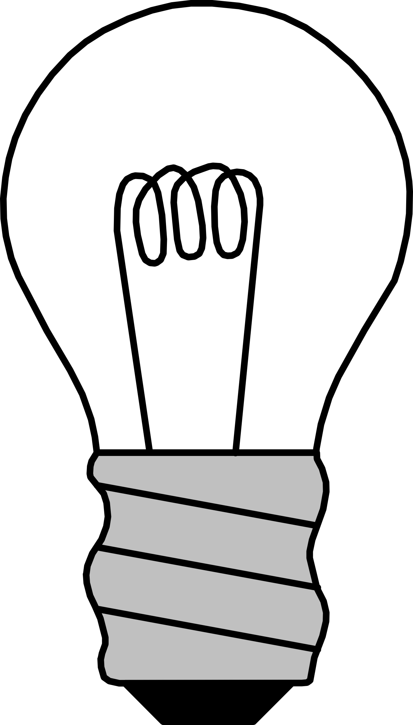 Black White Line Art Bulb Tattoo