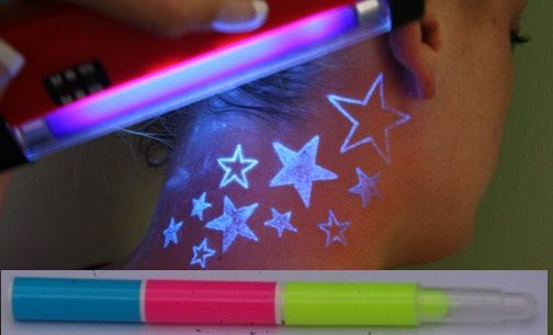 Blacklight Stars Tattoo On Neck