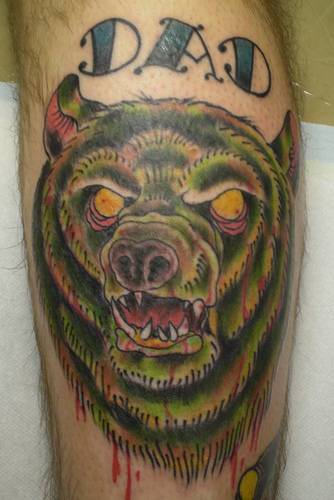 Bleeding Bear Face Tattoo Design