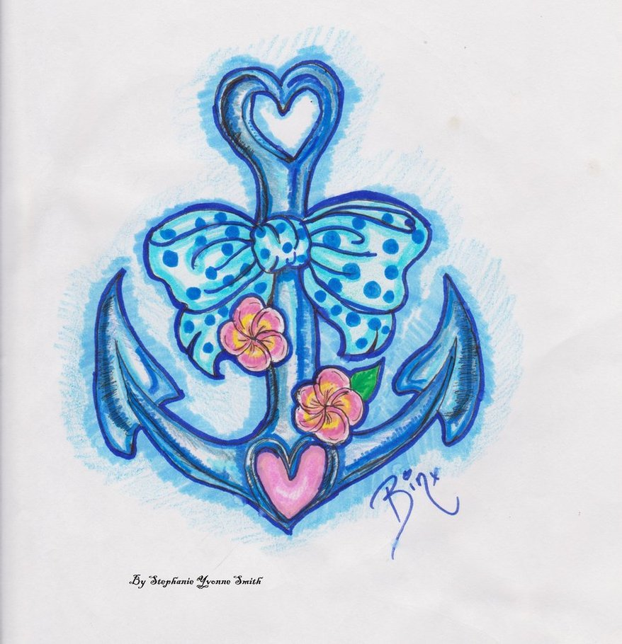 Blue Anchor Symbol With Bow Heart & Flowers Tattoo