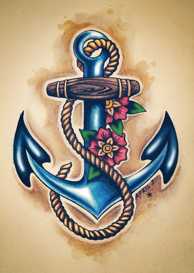 Blue Anchor Tattoo With Flowers & Rope
