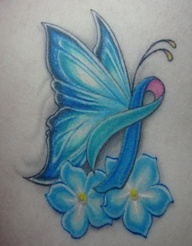 Blue Butterfly Flowers Breast Cancer Tattoo Design