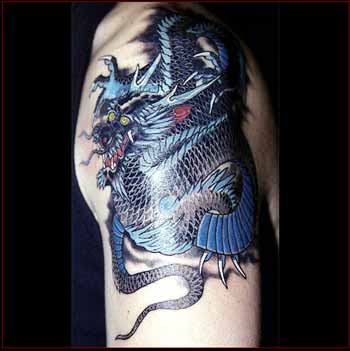Blue Dragon Animated Tattoo Design