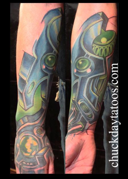 Blue & Green Biomechanical Tattoo Design