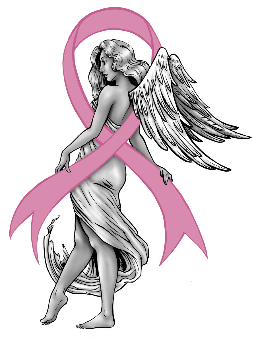 Angel Girl With Breast Cancer Ribbon Design
