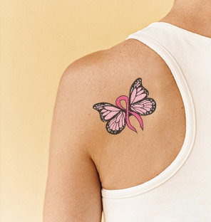 Breast Cancer Butterfly Tattoo On Shoulder Back