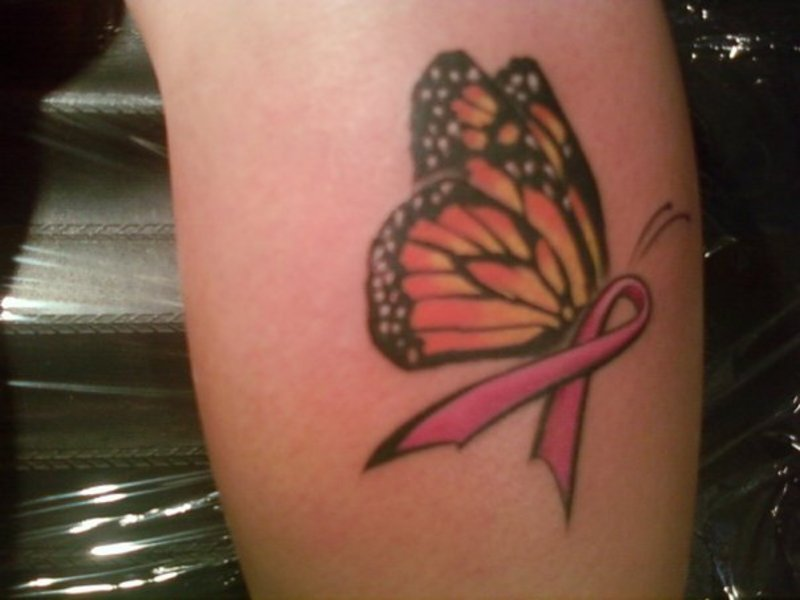 Breast Cancer Ribbon Butterfly Tattoo
