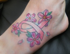 Breast Cancer Ribbon & Flowers Tattoo On Foot