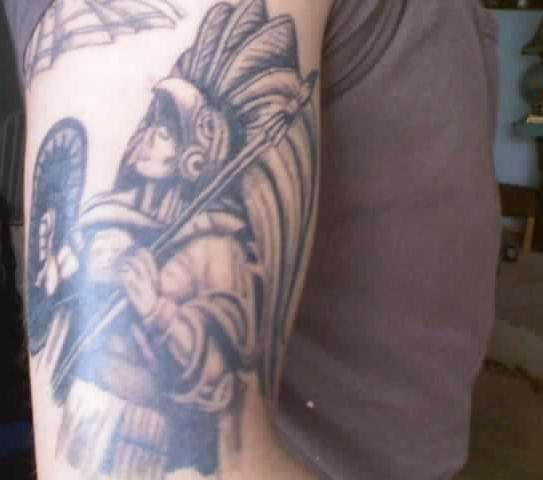 Brilliant Aztec Warrior Tattoo Design
