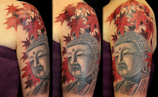 Buddha With Leaves Tattoo Image