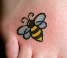 Cute honey bee tattoo - photo#17