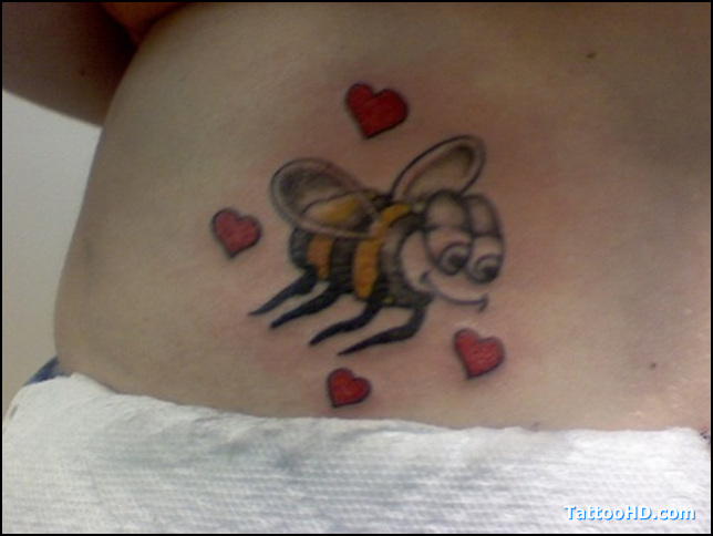Bumblebee Tattoo With Tiny Hearts