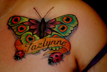 Butterfly Banner & Lady Bugs Tattoo Design