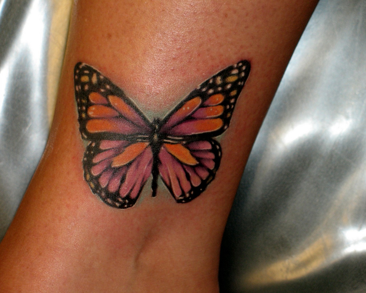 Ankle Butterfly Tattoo