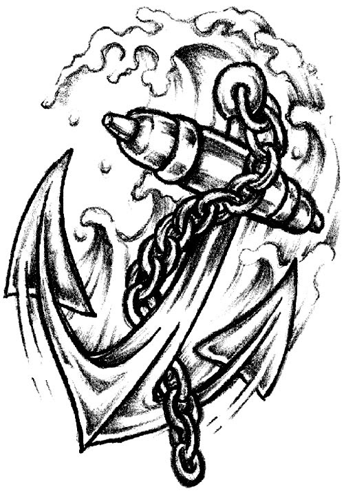 Chain Anchor Tattoo Design