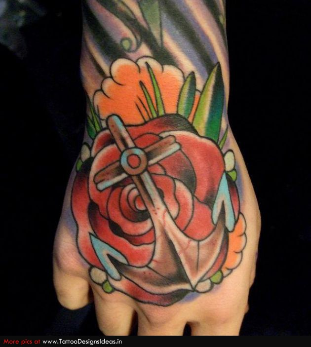 Charming Rose Anchor Tattoo Design