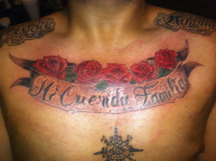 Chest Banner Tattoo With Red Roses
