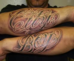 Arm City Boy Ambigram Tattoo Design