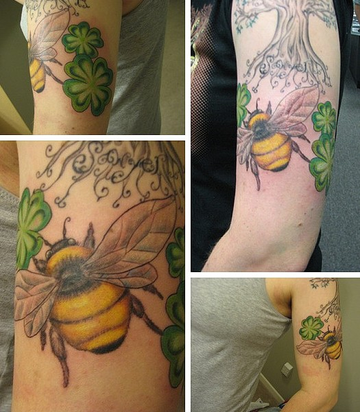 Clovers With Bee & Tree Tattoo On Arm