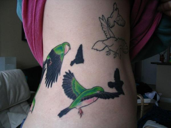 Color Bird Tattoo On Body Side