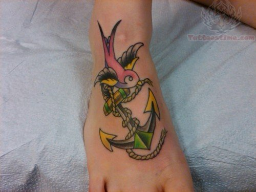 Color Ink Anchor Swallow Tattoo On Foot