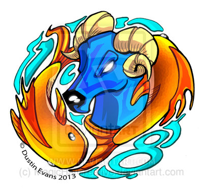 Color Ink Aries & Pisces Tattoo Design