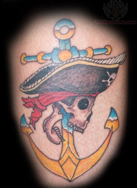 Color Ink Pirate Skull Anchor Tattoo