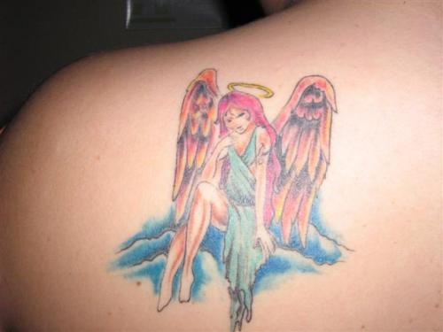 Thinking Angel Girl Tattoo