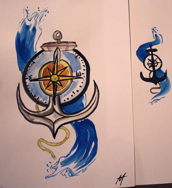 Colorful Anchor & Compass Tattoo